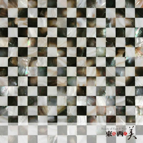 Black and White Mosaic Mother of Pearl Tiles