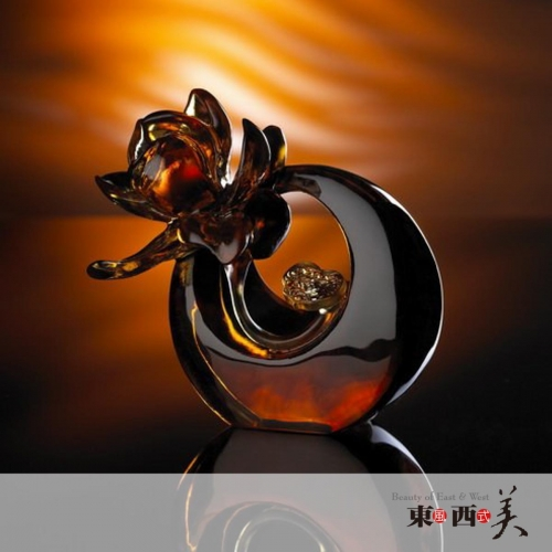 Liuli Crystal Art Flowers Figurine