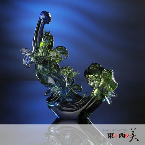 Liuli Crystal Flower Figurine for Office Decor