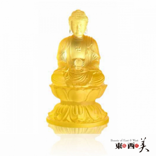 Ancient Chinese Glass Amitabha Buddha Statue