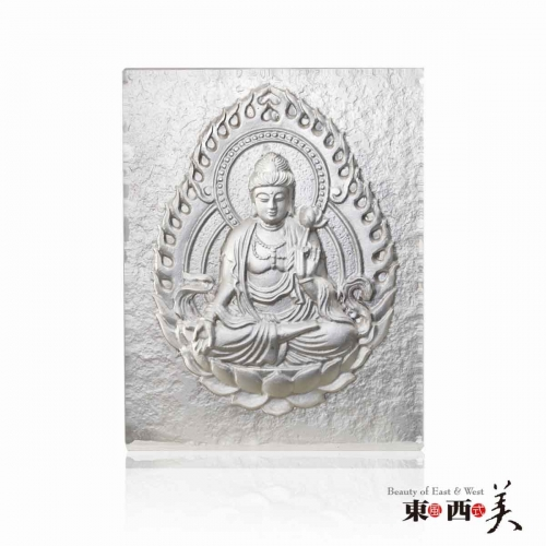 Liuli Glass Guanyin Buddha Block Decor